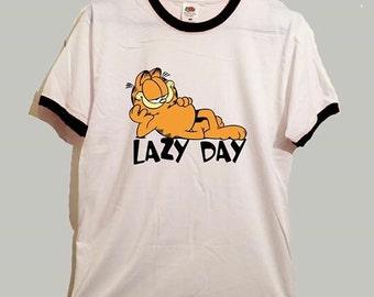 Garfield lazy day ringer tshirt cute funny cartoon cat