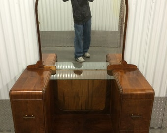 1930's Waterfall Vanity w/ Mirror