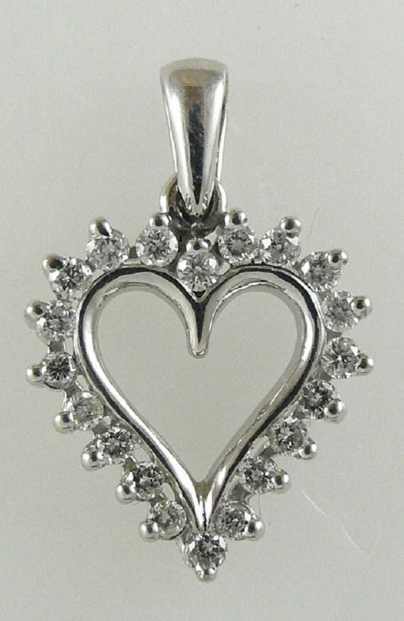 Diamond 0.48ct Heart Pendant 14k White Gold