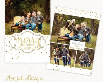 Digital Photoshop Christmas Card Template for photographers - Gold dots CC003 - INSTANT DOWNLOAD