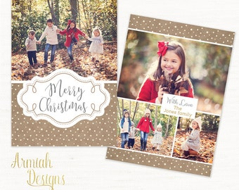 Digital Photoshop Christmas Card Template for photographers - CC009 - INSTANT DOWNLOAD