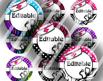 "Editable Bottle Cap Collage Sheet - Nurse (241) - 1"" Digital Bottle Cap Images"