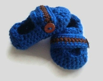 Crochet Baby Boy Blue and Brown Loafers, Crochet Baby Boy Booties, Blue Baby Boy Shoes, Baby Booties