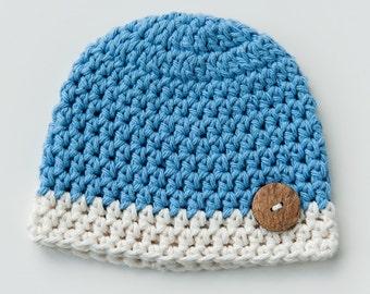 Newborn Blue Baby Boy Beanie Hat With Wooden Button Accent