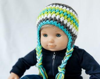 Bitty Twin Gray, Blue, Green & White Striped Earflap Hat