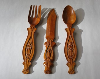 Wooden Silverware, handcarved, fork, knife, spoon, decorative