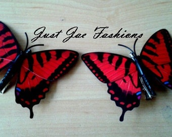 Set of 2 Red Butterfly Hair Clips Barretts Accessories