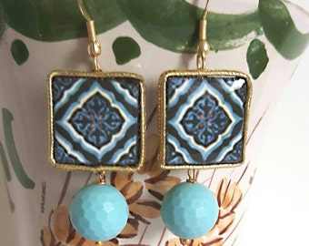 Earrings with turquoise beads, Silver Ceramic Caltagirone
