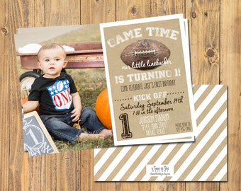 VINTAGE FOOTBALL BIRTHDAY Invitaiton | Football Birthday Party Invite | With or Without Photo | For any age!