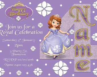 Sofia the First Print your Own Invitation Digital File
