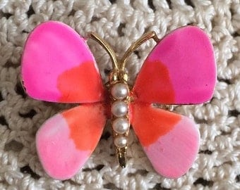 Groovy 1960s Enamel and Seed Pearl Butterfly Pin in Pink and Orange