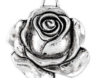 2 Rose Charms, Antique Silver Tone (1U-78) NEW3