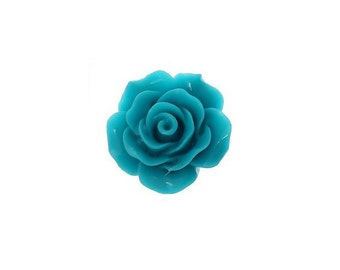 10 Teal Cabochon Flowers, Teal Resin Rose Flower (1S-90)