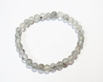 Natural Black Rutilated Quartz Gemstone Stretch Beaded Bracelets Tourmalinated quartz Semi precious stone Elastic bangle Handmade Jewelry