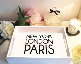New York, London, Paris Tray - White