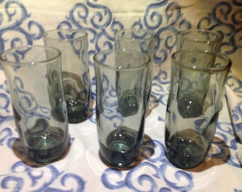 Tall Shot Glasses Smokey Grey Set of 6 Vintage