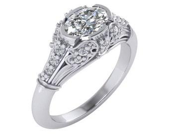 Antique Engagement Ring, Art Deco Oval Engagement Ring, Victorian Engagement Ring, 1.5 Carat Forever Brilliant Moissanite Engagement Ring