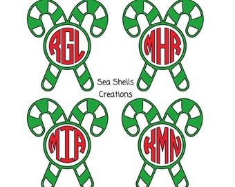 Candy Cane Monogram, Candy Cane Decal, Candy Cane Sticker