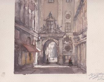 CITY - original watercolor painting 12X9, landscape