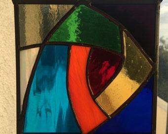 Chakra swirl stained glass hanging suncatcher