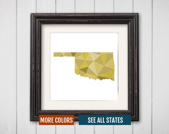 Oklahoma State Map Print - Personalized Geometric Wall Art OK Colorful Abstract Poster, Minimal, Unique and Customized Triangle Decor