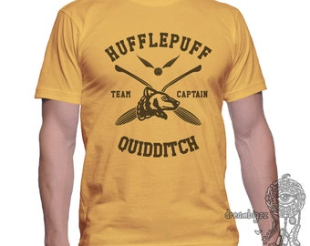 CAPTAIN - Huffle Quidditch team Captain on MEN tee Gold