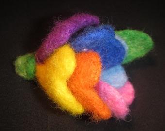 Woolen flower brooch, Flower - seven colors