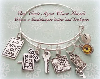 Real Estate Agent Gift, Personalized Jewelry, Real Estate Agent Charm Bracelet, Gift Ideas for Real Estate Agents, Personalized Gift