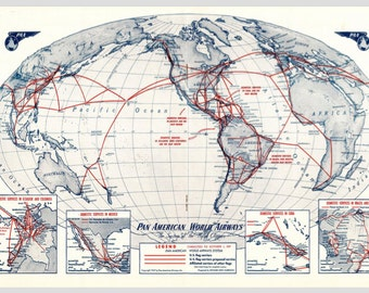 Pan Am Airlines Vintage Flight Route Map