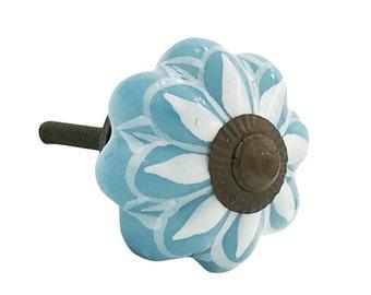 Blue & White Ceramic Dresser Knob, Cabinet Knob, Drawer Knob, Drawer Pull - i368