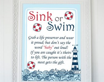 Nauthical Baby Shower Printable Game Sink Or Swim, Baby Shower Sink Or Swim Printable Sign, Baby Shower Sign, Anchor Printable