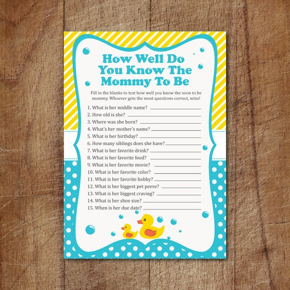 Rubber Ducky How Well Do You Know The Mommy To Be Baby Shower
