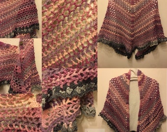 Butterfly Summers Little Sister. Crochet shawl in Rose Garden pinks and greys