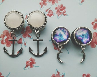 "22mm (7/8"") dangle plugs: anchors & galaxy"