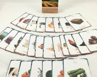 Farm alphabet cards, flash cards, classroom decor, classroom wall art