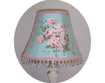 Pink Roses on Aqua Blue or Pink Shabby Chic fabric Lamp Shade