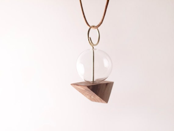 ANR Glass Globe #1 // blown glass and wood necklace, glass bead and wood triangle, brass, leather cord necklace, unique minimal geometric