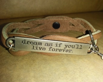 Braided Leather Bracelet with Saying