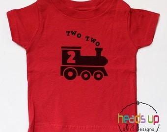 Two Two Train Shirt - 2 Shirt Toddler Boy/Girl - Second Birthday tshirt - 2nd Birthday Train Shirt Toddler Boy/Girl - Train Bday - Trendy