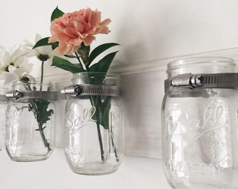 Distressed White Mason Jar Wood Rack