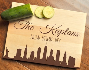 New York Cutting Board, Personalized Cutting Board, Engraved Cutting Board, Custom Personalized Wedding Gift, NYC, New York City