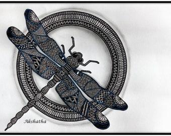 Dragonfly Zentangle, Zentangle Art, Doodle Art, Pen and Ink, Dragonfly, Dragonfly Art, Animal Art