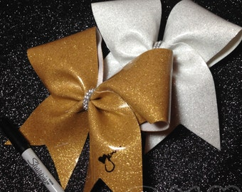 Glitter Autograph Bow, Cheer Bows, End of Season GIft, Cheerleading Gifts, Team Cheer Bows, Senior Cheer Bows, Cheer Camp Gifts