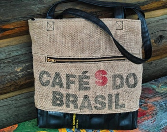 Tote Bag-Recycled Tubes-Upcycled Bag-Inner Tubes-Coffee Bean Sack-Bike Tubes
