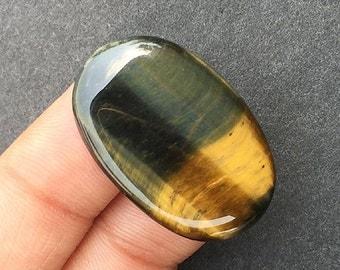 21 Ct Natural Powerful Loose Oval Cut Hawk's Eye Blue Tiger Eye Gemstone, 28x18x4 MM Semi-precious Cabochon, D-216