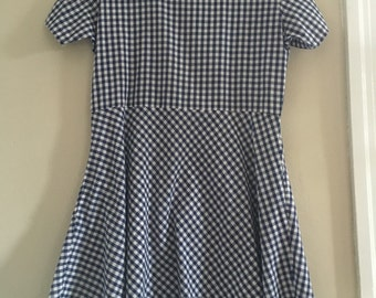 Gingham dropped waist dress with side pockets