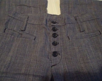 1960's-70's Flared Leg Button Front Pants,Navy & White Tweed,Brand Tag Not Readable,2 Horizontal Pockets