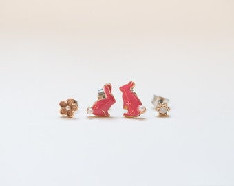 ON SALE!!! 50%OFFWas8.99Now4.50/mini,Tiny,Bunny, Earrings,Gift for her, Cute,studs earrings, Rabbit, set of 4, pink, flowers, crystral