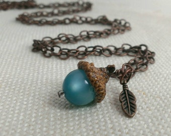 Acorn & Leaf Charm Necklace - Metal Leaf and Real Acorn Cap and Cats Eye Blue Bead -- SEE COUPON CODE