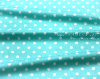 Turquoise 10mm dots cotton fabric 0,5m